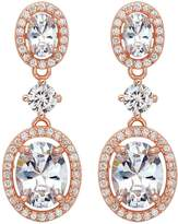 Ever Faith Women's 925 Sterling Silver CZ Luxurious Round Bridal Dangle Earrings Clear