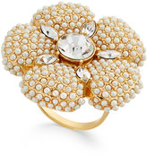 Kate Spade Gold-Tone Imitation Pearl and Crystal Flower Statement Ring