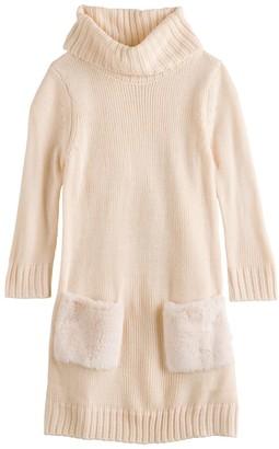 My Michelle Girls 7-16 Faux Fur Pocket Cowlneck Sweaterdress