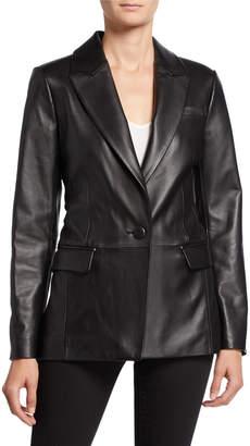 Neiman Marcus Leather Collection Lambskin Leather Boyfriend Blazer