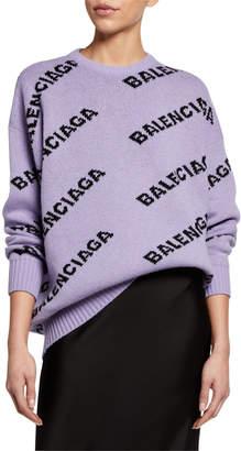 Balenciaga Logo-Jacquard Wool Sweater