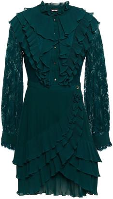 Just Cavalli Lace-paneled Ruffled Georgette Mini Dress