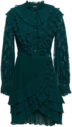 Just Cavalli Wrap-effect Paneled Lace And Georgette Mini Dress