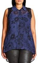 City Chic Plus Size Women's Des Fleurs Lace Inset Shirt