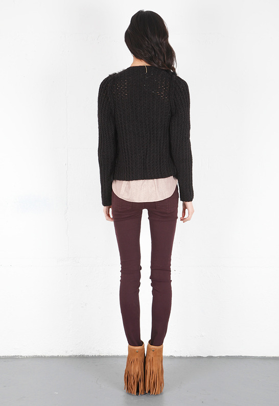 Of Two Minds Jory Shearling Knit Reversible Jacket in Black -