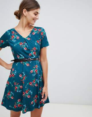 Yumi floral print dress with studded belt-Green