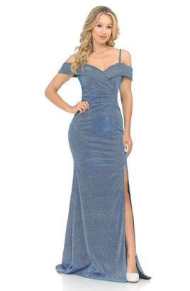 Lenovia Off The Shoulder Blue Metallic Fit & Flare Long Formal Dress