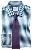 Charles Tyrwhitt Slim Fit Non-Iron Gingham Teal Cotton Dress Shirt Single Cuff Size 14.5/33