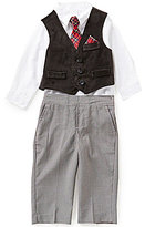 Starting Out Baby Boys 3-24 Months 3-Piece Velvet Vest, Buttoned Shirt, and Pants Set