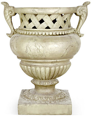 "One Kings Lane 21"" Weave-Top Urn - Antique Stone"