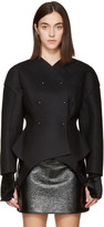 Esteban Cortazar Black Wool Round Jacket