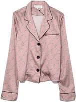 Fleur Du Mal Long Sleeve Pajama Top in Rose Pink Chain