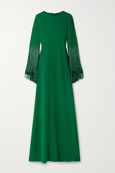 Thumbnail for your product : Oscar de la Renta Bead-embellished Stretch-silk Georgette Gown - Forest green