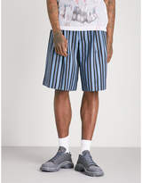 Comme Des Garcons Homme Plus Striped Wide-leg Wool Shorts