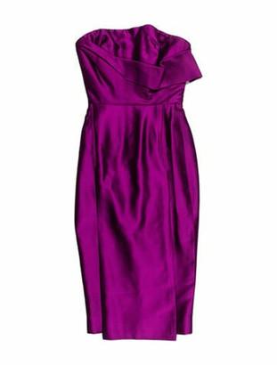 Victoria Beckham Silk Knee-Length Dress Purple