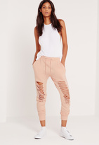 Missguided Extreme Distressed Knee Joggers Nude