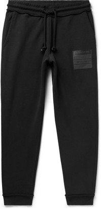 Maison Margiela Tapered Leather-Appliqued Organic Loopback Cotton-Jersey Drawstring Sweatpants