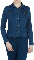 Alia Petite Long Sleeve Button Front Denim Jacket