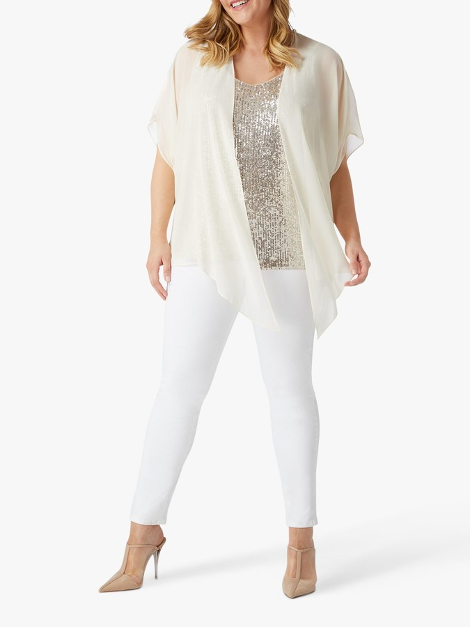 Live Unlimited Sequin Chiffon Blouse, Nude