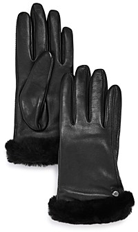 UGG Shorty Shearling-Cuff Leather Tech Gloves