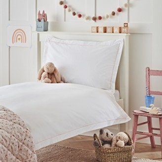 The White Company Florence Cord & Heart Bed Linen Set, White/Pink, Cot Bed
