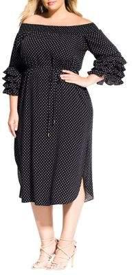 City Chic Plus Micro Spot Off-the-Shoulder Dress