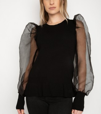 New Look Port Boutique Organza Sleeve Knit Top