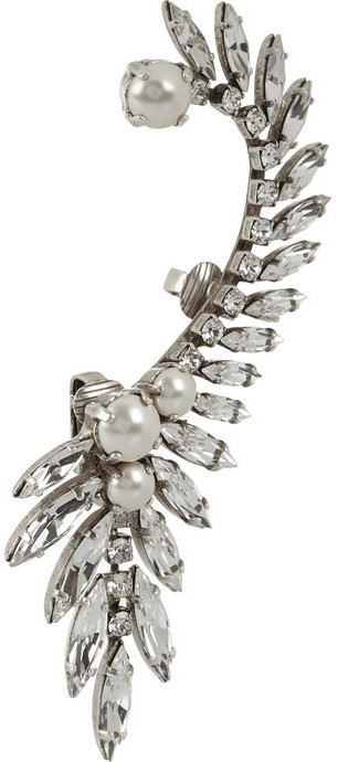 Swarovski Ryan Storer Silver-plated, crystal and pearl ear cuff