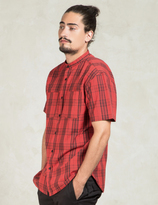 10.Deep Red Hamilton Stand Collar Shirt