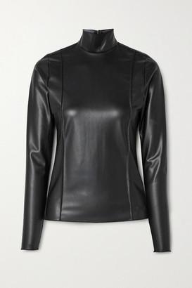 Peter Do Faux Leather Turtleneck Top - Black