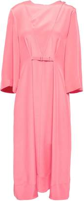Tibi Belted Silk Crepe De Chine Midi Dress