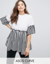 Asos Top with Stripe Ruffle Panels