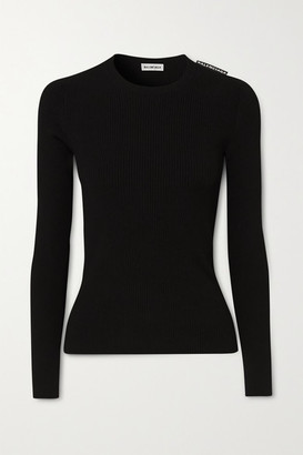 Balenciaga Ribbed-knit Sweater - Black