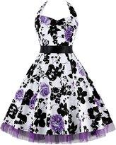 OTEN Women's Floral Vintage 1950s Halter Rockabilly Gown Cocktail Party Dress