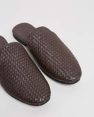 Double Oak Mills Laurent Woven Leather Slippers