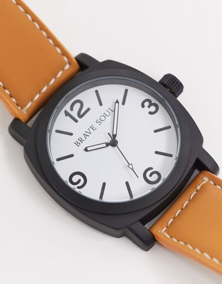 Brave Soul brown watch with white dial