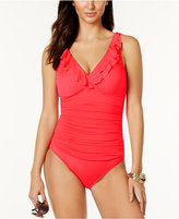 Lauren Ralph Lauren Tummy-Control Underwire Ruffled One-Piece Swimsuit