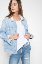 7 For All Mankind Boyfriend Jacket With Destroy In Vintage Air Light