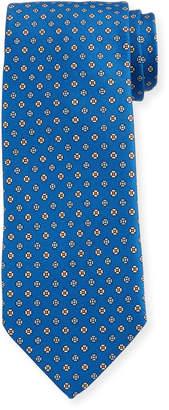 Bigi Men's Small Floral Silk Tie, Bright Blue