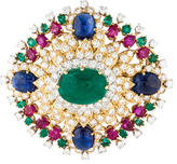 David Webb Diamond, Emerald, Ruby & Sapphire Brooch