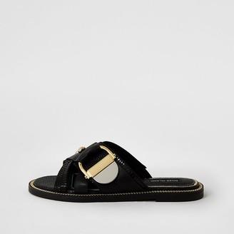 River Island Black buckle studded strap sandals