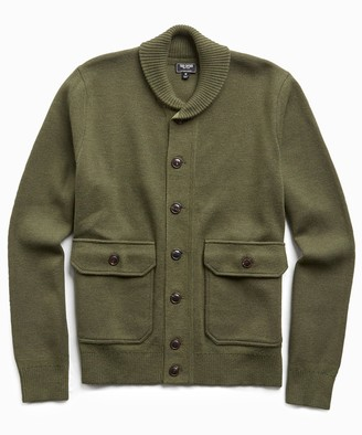 Todd Snyder Italian Merino Wool Sweater Jacket in Olive