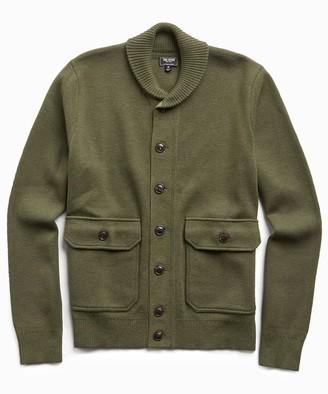 Todd Snyder Italian Merino Wool Sweater Jacket in Olive