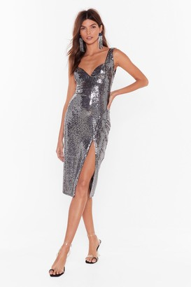 Nasty Gal Womens Keepin' The Party Alive Sequin Midi Dress - grey - 6