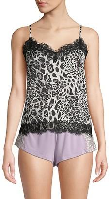 BB Dakota Snow Leopard-Print Lace-Trimmed Camisole