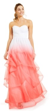 Crystal Doll Juniors' Strapless Ombre Ball Gown