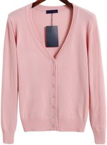 OCHENTA Women's Basic Solid Button Down V Neck Long Sleeve Cardigan