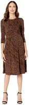 Donna Morgan Long Sleeve Twist Front Fit and Flare Matte Jersey Dress (Caramel Brown) Women's Clothing