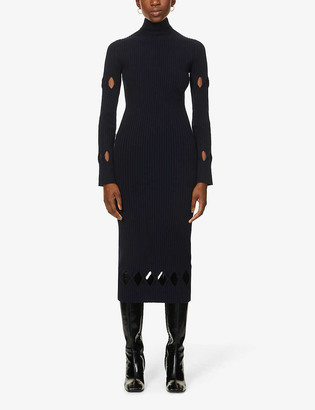 Victoria Beckham High-neck stretch-wool and cashmere-blend maxi dress