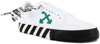 Off-White Low Vulcanized Sneaker in White & Green   FWRD